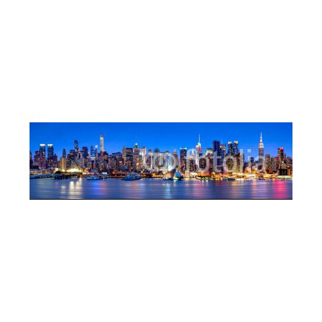 Panele szklane Manhattan Skyline Panorama bei Nacht