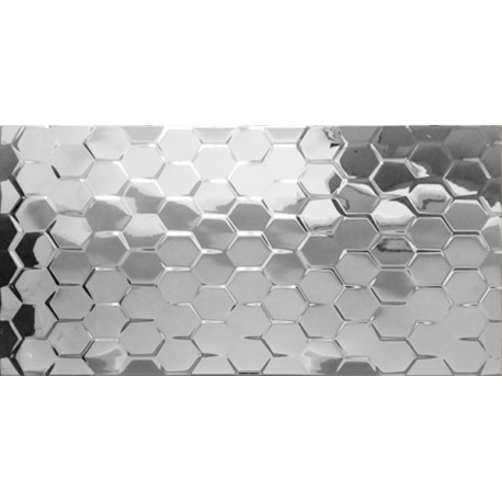 Płytka ceramiczna srebrna MTL SILVER CLEO HEX 30x60