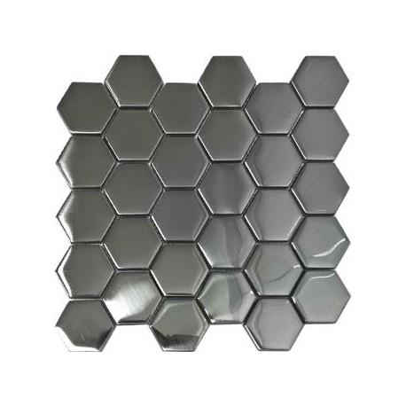 Mozaika MS-109 Heksagony Srebrna Mat