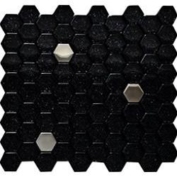 Czarny Brokat Srebrny Hex Mosaic 29,6x28