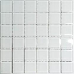Mozaika szklana Biała 30 x 30 kostka 4,8 cm