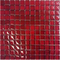 Mozaika szklana Czerwień Paski 30x30 kostka 2,3 cm