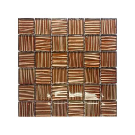 Mozaika szklana Złoto-Bursztyn Paski 30 x 30 kostka 4,8 cm