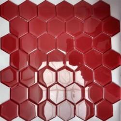 Mozaika Szklana Hex L Red 32,7x31,8