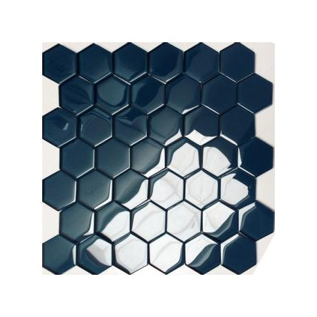 Mozaika Szklana Hex L Niebieska 32,7x32,8