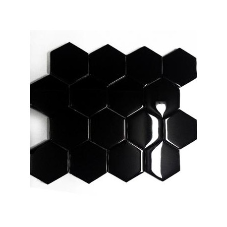 Mozaika Szklana Hex XL Czarna 33,8x28,1