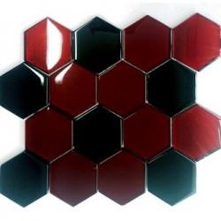 Mozaika Szklana Hex XL Mix Czerwień 3 / Czarny 28,1x33,8