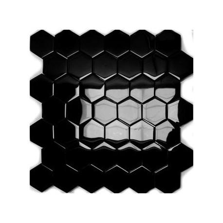 Mozaika Szklana Hex L Czarny 32,7x31,8